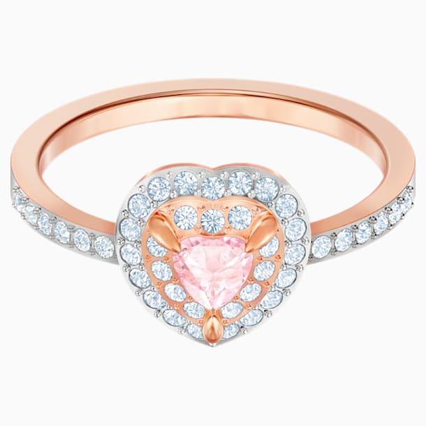 Prsten One, vícebarevný, pozlacený růžovým zlatem - Swarovski, 5470692