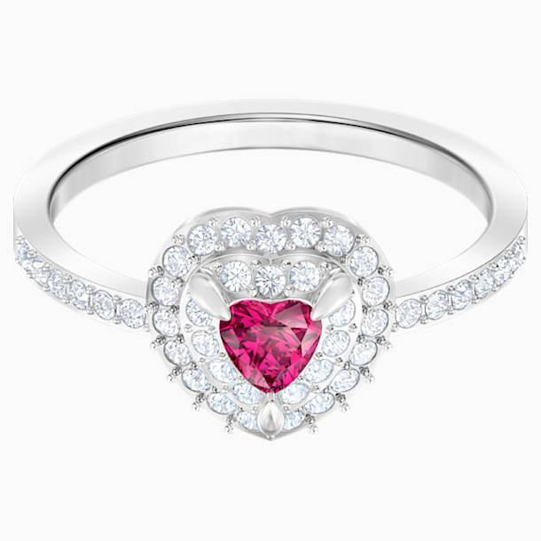 One 戒指, 紅色, 鍍白金色 - Swarovski, 5470698