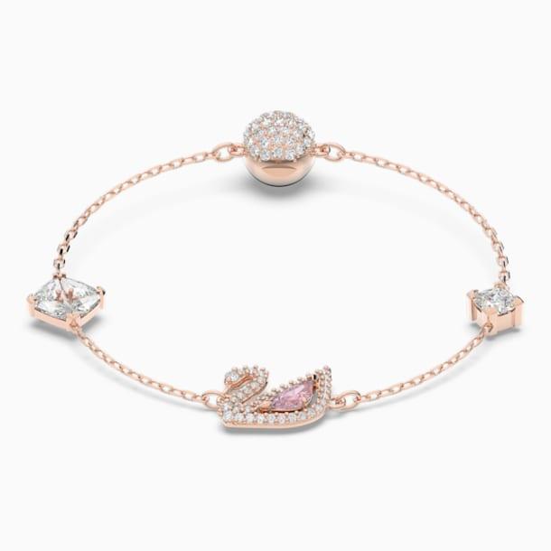 Dazzling Swan Bracelet, Multi-colored, Rose-gold tone plated - Swarovski, 5472271