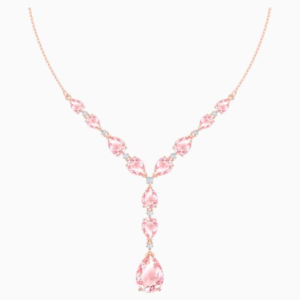 Vintage Necklace, Pink, Rose-gold tone plated - Swarovski, 5472610