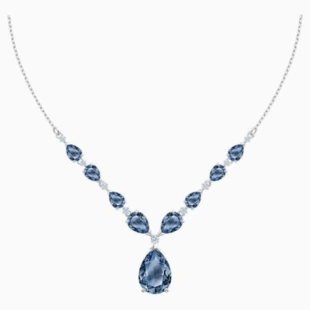 Vintage Necklace, Blue, Rhodium plated - Swarovski, 5472614