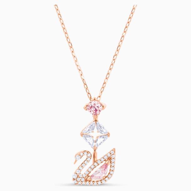 Dazzling Swan Y形項鏈, 多色設計, 鍍玫瑰金色調 - Swarovski, 5473024