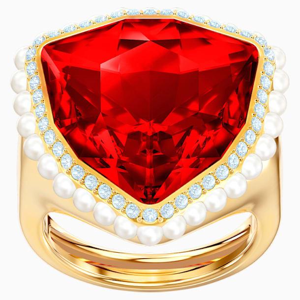 Lucky Goddess Cocktail 戒指, 紅色, 鍍金色色調 - Swarovski, 5474552