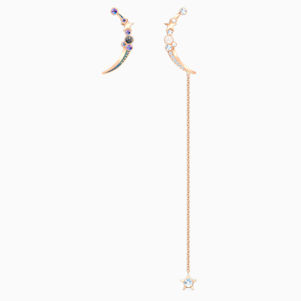 Starry Night Moon Pierced Earrings, Dark multi-colored, Rose-gold tone plated - Swarovski, 5474829