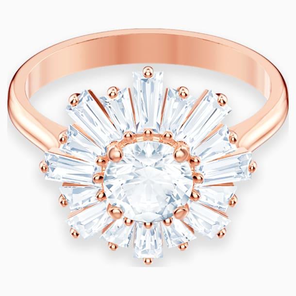 Δαχτυλίδι Sunshine, λευκό, επιχρυσωμένο σε χρυσή ροζ απόχρωση - Swarovski, 5474917