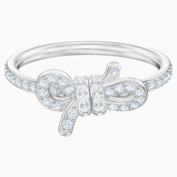 Lifelong Bow 戒指, 細碼, 白色, 鍍白金色 - Swarovski, 5474933