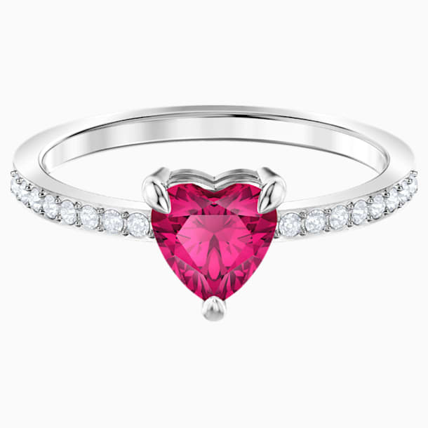 One Heart 戒指, 紅色, 鍍白金色 - Swarovski, 5474943