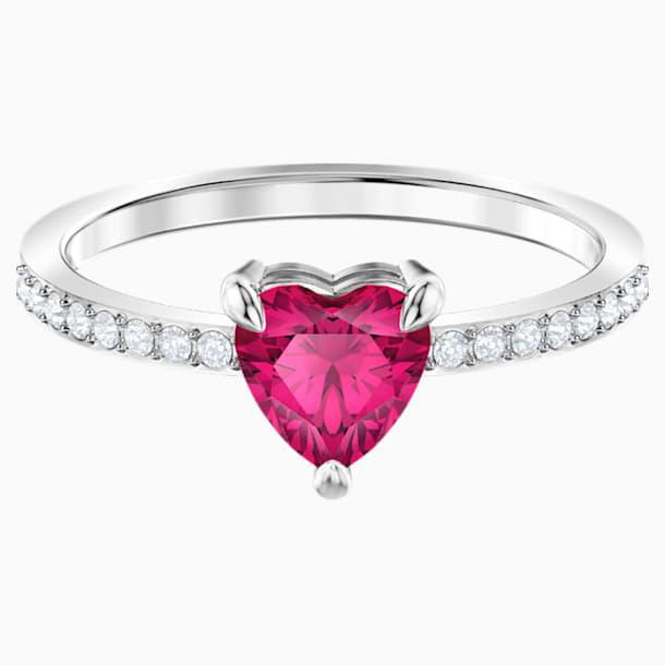 One szív alakú gyűrű, piros, ródium bevonattal - Swarovski, 5474943