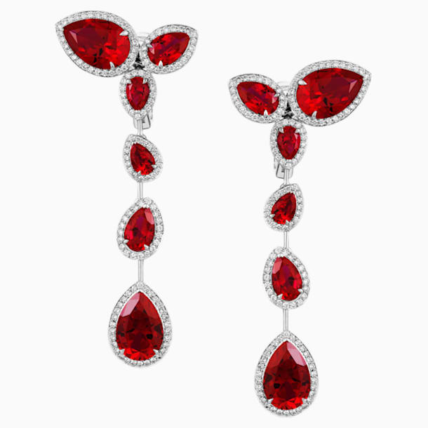 Lola Long Earrings, Swarovski Created Rubies, 18K White Gold - Swarovski, 5476751