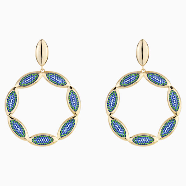 Evil Eye Hoop Pierced Earrings, Blue, Gold-tone plated - Swarovski, 5477553