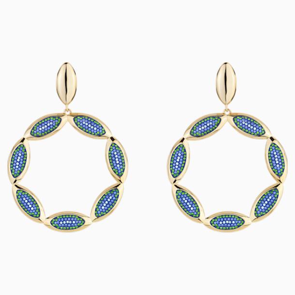 Pendientes de aro Evil Eye, azul, baño tono oro - Swarovski, 5477553