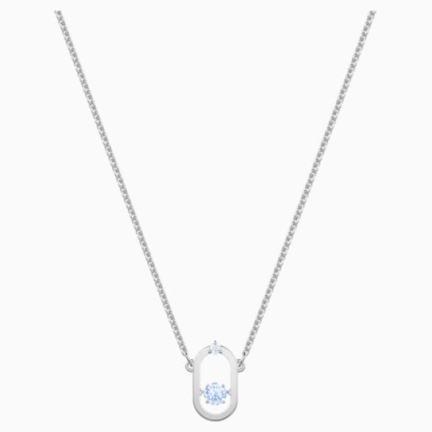 Sparkling Dance Necklace, Blue, Rhodium plated - Swarovski, 5479118