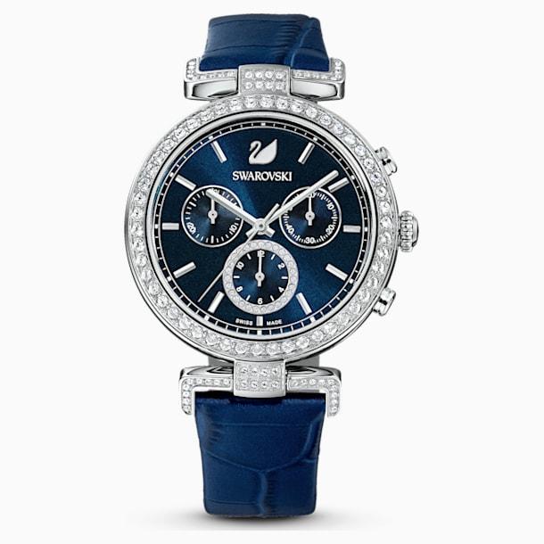 Montre Era Journey, Bracelet en cuir, bleu, acier inoxydable - Swarovski, 5479239