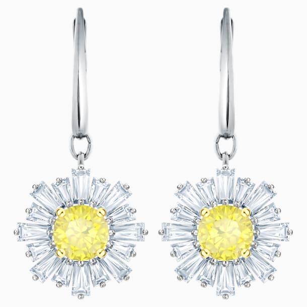 Sunshine 穿孔耳環, 白色, 鍍白金色 - Swarovski, 5479914