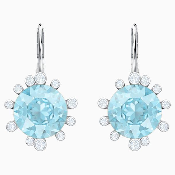 Olive 穿孔耳環, 海藍色, 鍍白金色 - Swarovski, 5479927