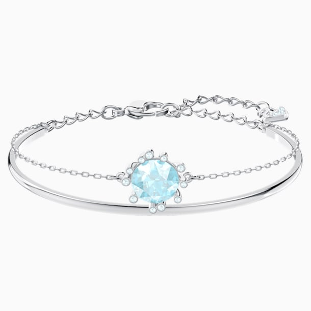 Olive Bangle, Aqua, Rhodium plated - Swarovski, 5479928