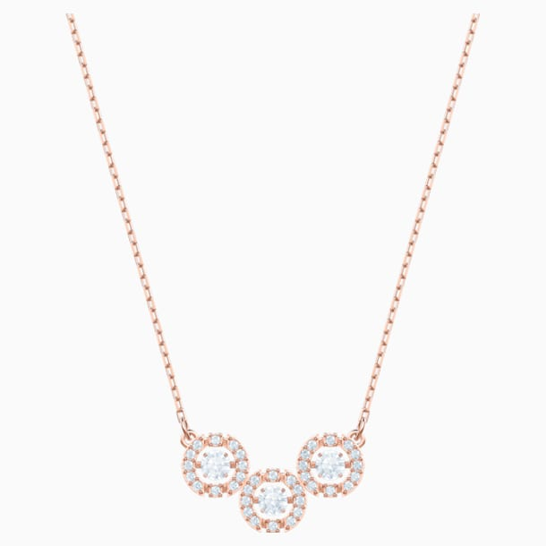 Swarovski Sparkling Dance Trilogy Necklace, White, Rose-gold tone plated - Swarovski, 5480482