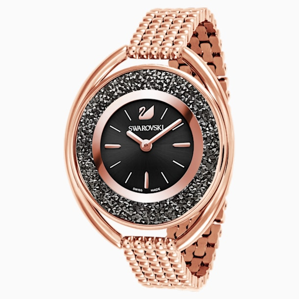 Crystalline Oval Watch, Metal bracelet, Black, Rose-gold tone PVD - Swarovski, 5480507