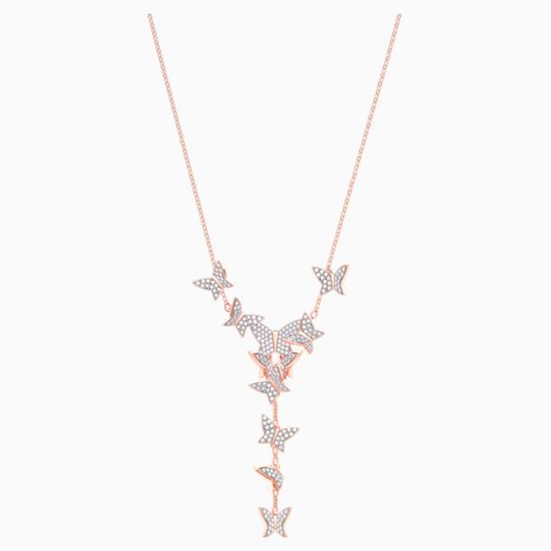 Collar en Y Lilia, blanco, Baño en tono Oro Rosa - Swarovski, 5480512