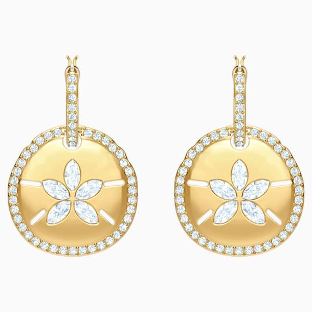 Ocean Sand Coin 穿孔耳環, 白色, 鍍金色色調 - Swarovski, 5480783