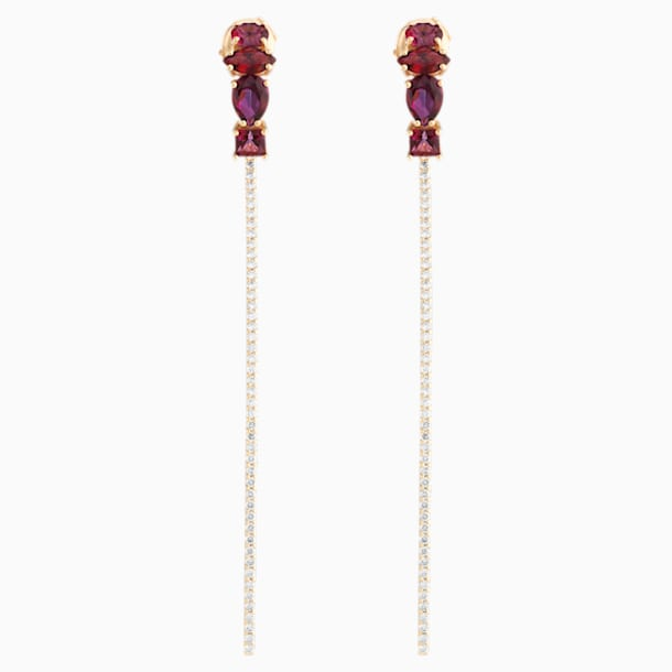 Arc-en-ciel Two-piece Earrings, Blazing Red Treated Swarovski Genuine Topaz, 18K Yellow Gold - Swarovski, 5481740