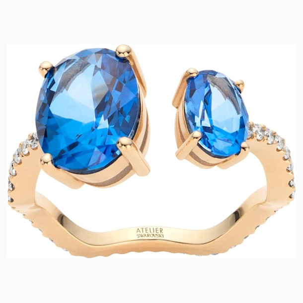 Arc-en-ciel Ring, Caribbean Blue, 18K Yellow Gold, Size 52 - Swarovski, 5481748