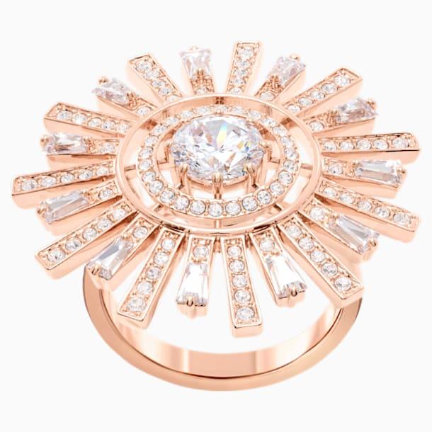 Napsugár koktélgyűrű, fehér, rózsaarany árnyalatú bevonattal - Swarovski, 5482501