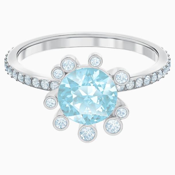 Olive 戒指, 海蓝色, 镀铑 - Swarovski, 5482505