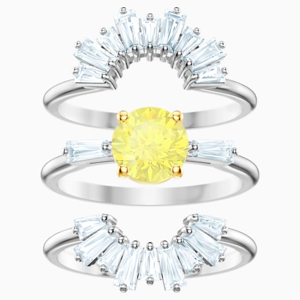 Napsugár gyűrű szett, fehér, ródium bevonatú - Swarovski, 5482508