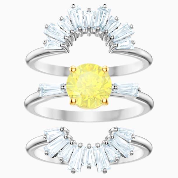 Sada prstenů Sunshine, Bílá, Rhodiem pokovená - Swarovski, 5482508