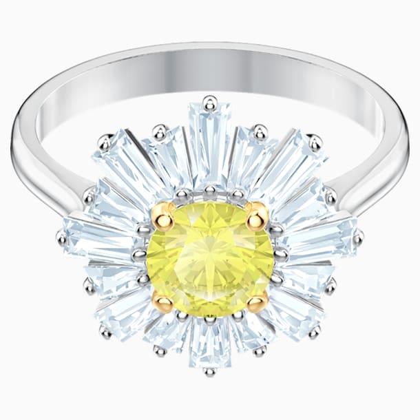 Pierścionek Sunshine, żółty, powlekany rodem - Swarovski, 5482706