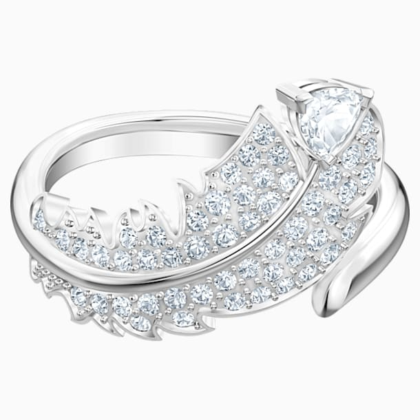 Nice Motif Ring, White, Rhodium plated - Swarovski, 5482913
