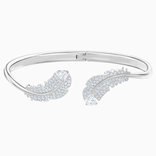 Nice Жёсткий браслет, Белый Кристалл, Родиевое покрытие - Swarovski, 5482915
