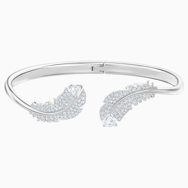 Nice Bangle, White, Rhodium plated - Swarovski, 5482915