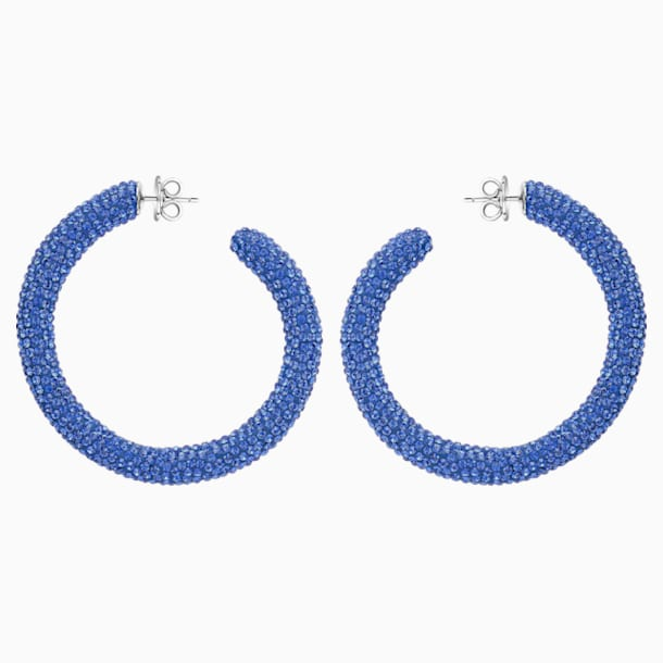Tigris Hoop Pierced Earrings, Blue, Palladium plated - Swarovski, 5483924