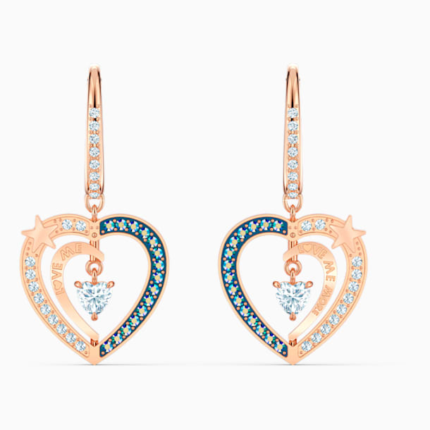 Starry Night Heart Pierced Earrings, Blue, Rose-gold tone plated - Swarovski, 5484016