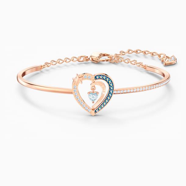 Starry Night Heart Bangle, Blue, Rose-gold tone plated - Swarovski, 5484018