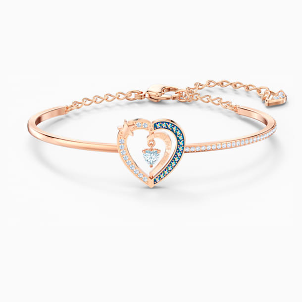 Starry Night Heart Bangle, Blue, Rose-gold tone plated - Swarovski, 5484018