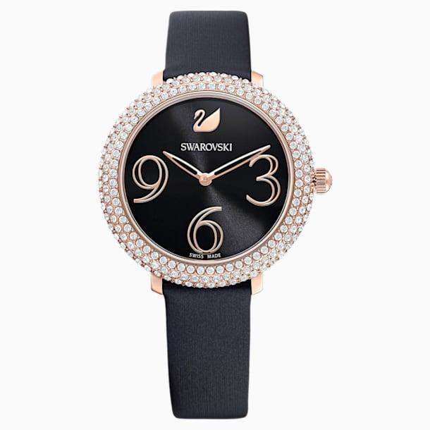 Crystal Frost Uhr, Lederarmband, schwarz, Rosé vergoldetes PVD-Finish - Swarovski, 5484058