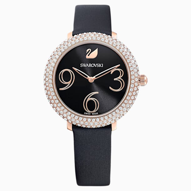 Crystal Frost Watch, Leather Strap, Black, Rose-gold tone PVD - Swarovski, 5484058
