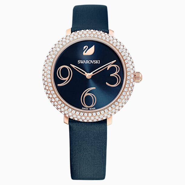 Crystal Frost Watch, Leather Strap, Blue, Rose-gold tone PVD - Swarovski, 5484061