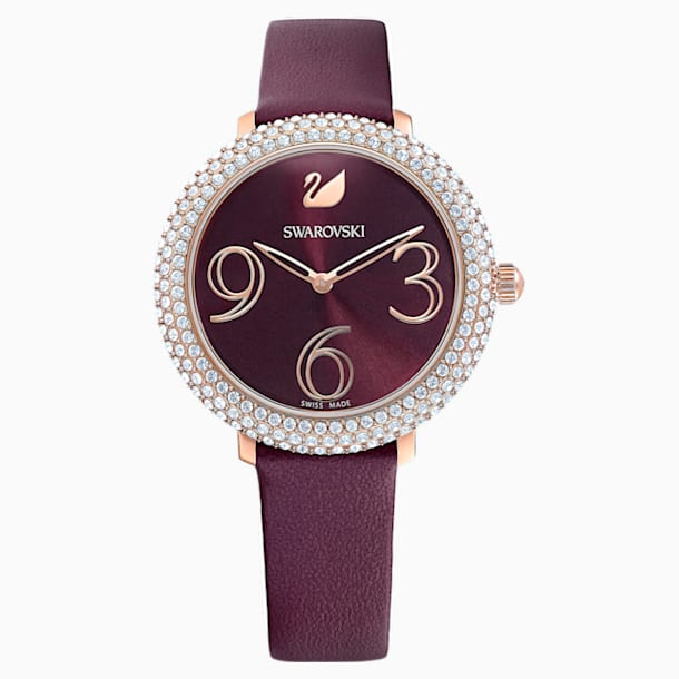 Crystal Frost Watch, Leather Strap, Dark red, Rose-gold tone PVD - Swarovski, 5484064