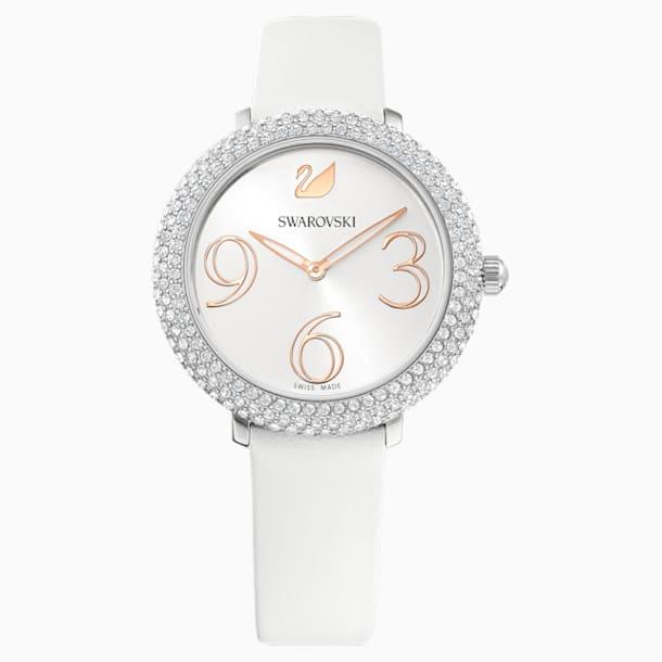 Crystal Frost 手錶, 真皮錶帶, 白色, 不銹鋼 - Swarovski, 5484070