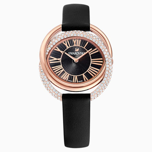 Duo Watch, Leather Strap, Black, Rose-gold tone PVD - Swarovski, 5484373