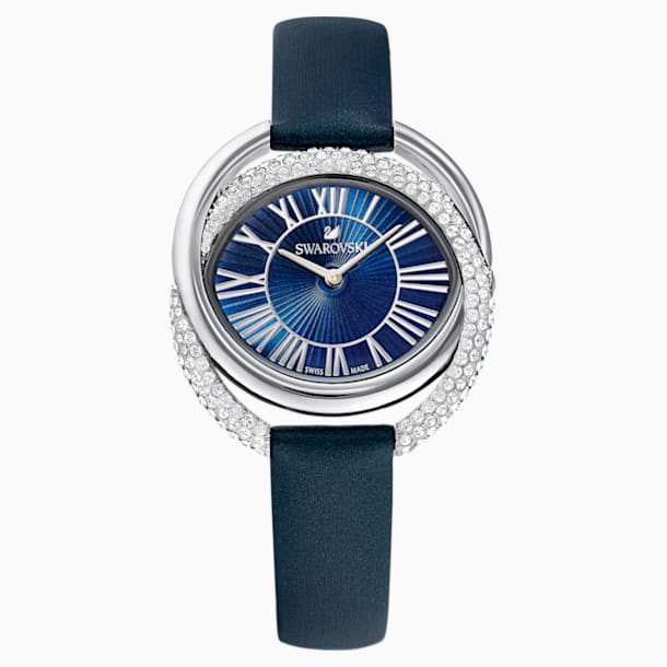 Duo Watch, Leather Strap, Blue, Stainless Steel - Swarovski, 5484376