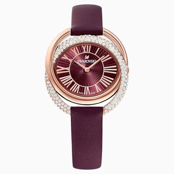 Duo Uhr, Lederarmband, dunkelrot, Rosé vergoldetes PVD-Finish - Swarovski, 5484379