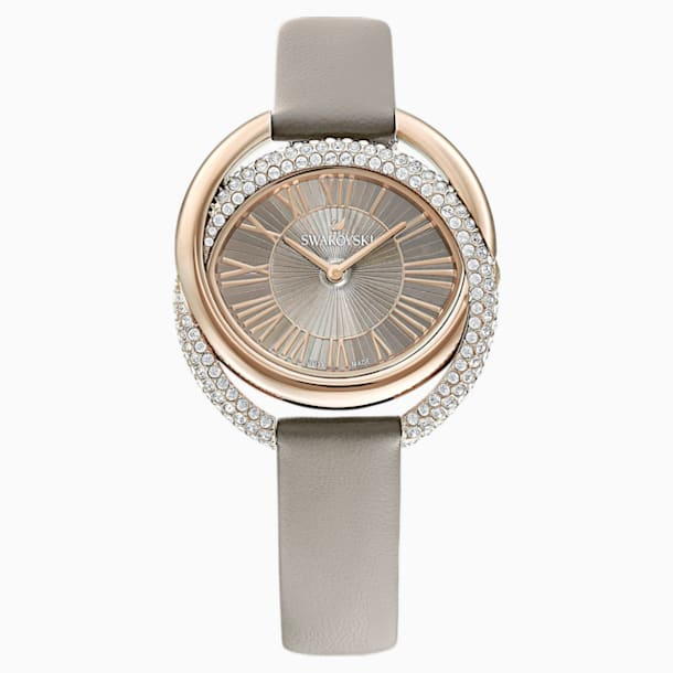 Duo Watch, Leather strap, Grey, Champagne-gold tone PVD - Swarovski, 5484382