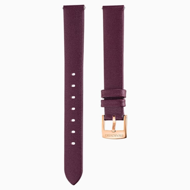 14mm Watch strap, Leather, Dark red, Rose-gold tone plated - Swarovski, 5484610