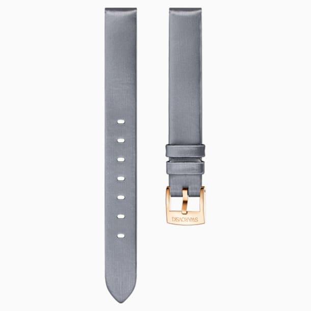 Cinturino per orologio 14mm, seta, grigio, placcato color oro rosa - Swarovski, 5484613