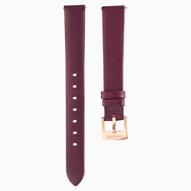 13mm Watch strap, Leather, Dark red, Rose-gold tone plated - Swarovski, 5485041